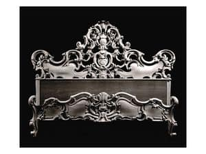 Bed art. 74, Bett mit Form mit dekorativen Schale, Barock