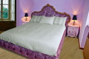 Bett Grace B, Mit Kopfteil, Fußteil und Kopfteil in gesteppten Samt Bett