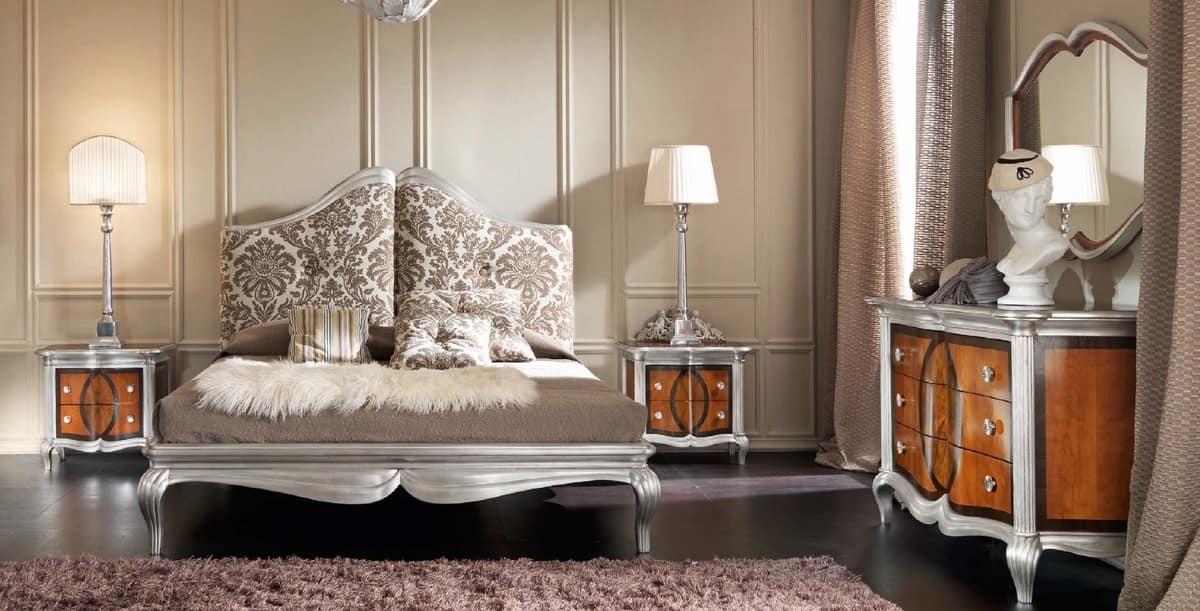 Gepolstertes Bett mit Holz geschnitzten Rahmen, klassisch   IDFdesign