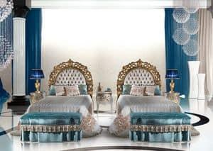 Calipso Bedroom, Klassischer Luxus Einzelbett mit gepolstertem Kopfteil
