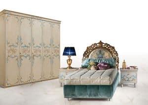 CalipsoTre, Einzelbett im luxuriösen klassischen Stil, gepolstertem Kopfteil