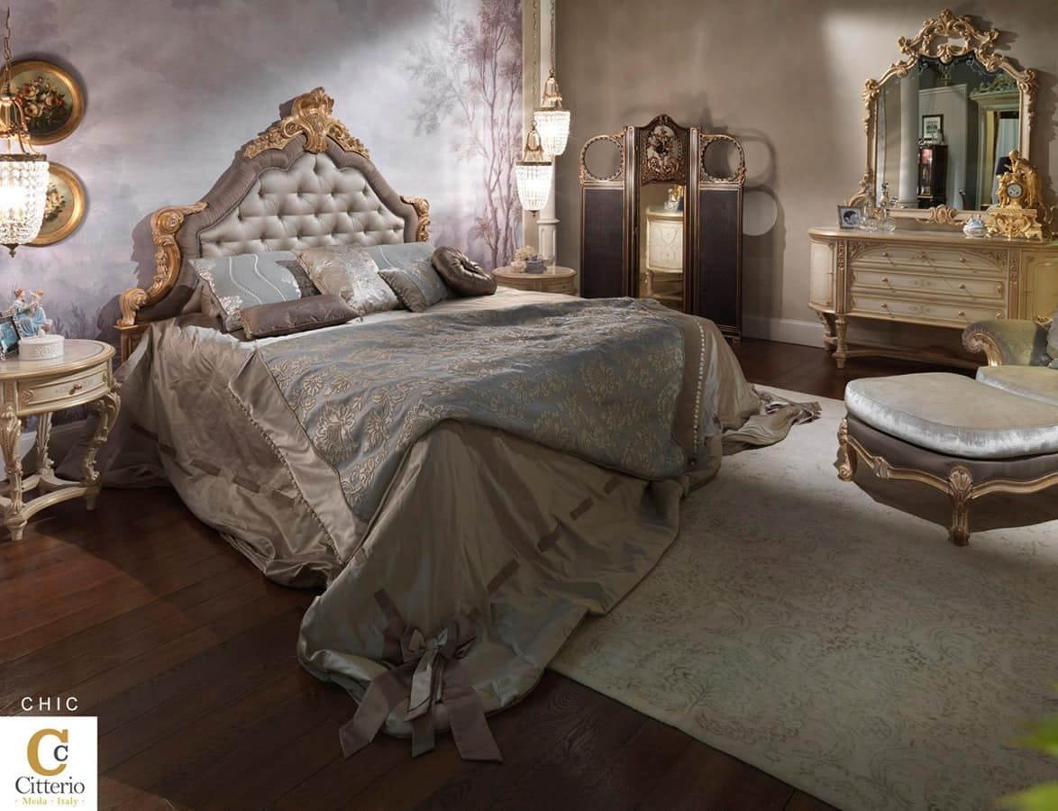 luxus klassische schlafzimmer eingelegte doppelbett. Black Bedroom Furniture Sets. Home Design Ideas