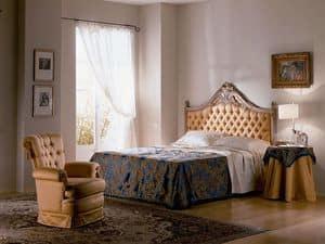Cimabue Bett, Geschnitzten Bett, gesteppt, Blattgold, für klassische Schlafzimmer