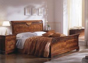 D 706, Bett in der Kirsche, mit Inlays, verblendet mit Ulme