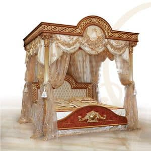 F517 Four-poster bed with Canopy, Luxuriöses Bett mit Baldachin, solide Holz geschnitzt