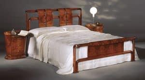 Flory Bett, Bett in Olivesche Maser, Satin Polieren