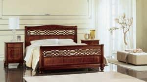 Gardenia perforierte Bett, Bed perforiert und von Hand eingelegt, für klassische Schlafzimmer