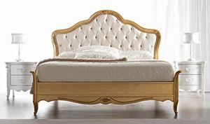 Gemma Art. 884, Klassisches Bett, Gold-Finish, mit getuftetem Kopfteil