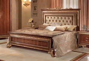 Giotto Polsterbett, Nussbaum Bett mit Kopfteil Tufting, königlichen Stil