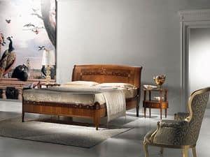 L334 Cornucopia Bett, Die Holzbetten, klassischen Luxus, Perlmutteinlagen