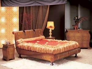 LE02 Le Volute, Bett in gebogenem Holz, von Hand verziert, für luxuriöse Zimmer
