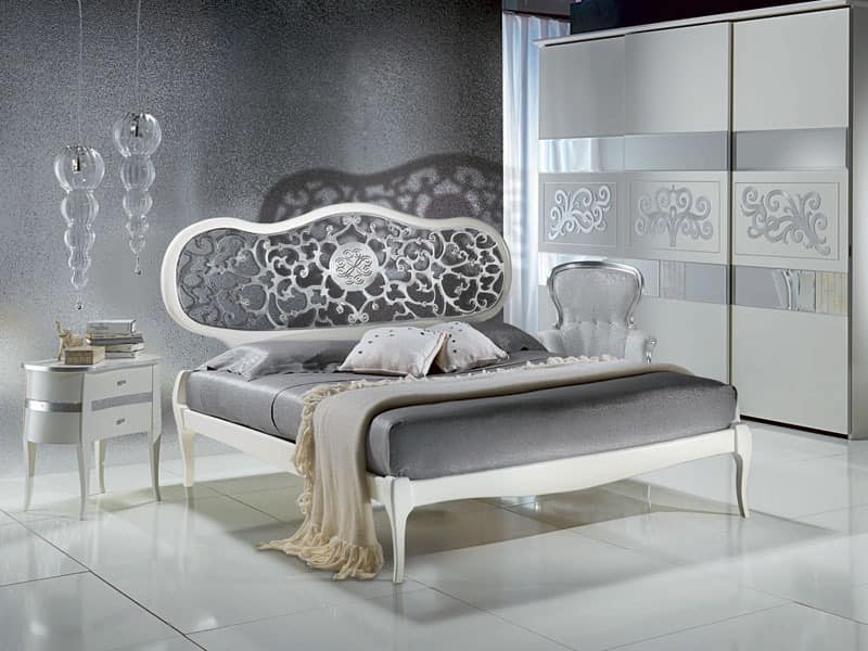 bed wei lackiert mit perforierten kopf klassische. Black Bedroom Furniture Sets. Home Design Ideas