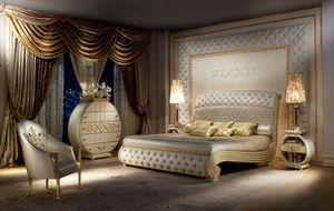 LE20 Vanity, Luxuriöse lackierte Bett, gesteppte Kopf-und Fußteil