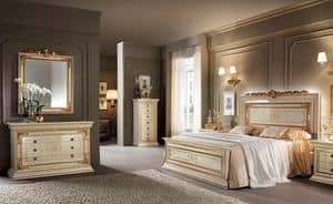 Leonardo Schlafzimmer 1, Classics Schlafzimmer Möbeln, Elfenbein mit Goldfarbe Veredelungen