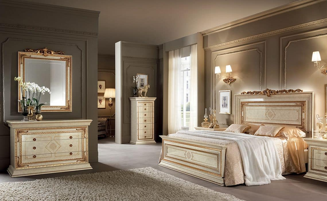 Classics Schlafzimmer Möbeln, Elfenbein mit Goldfarbe ...