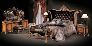 Bett 3131, Klassisches Bett mit Samtkopfteil