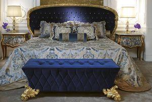 Bett 3690, Klassisches Luxusbett mit goldener Oberfläche