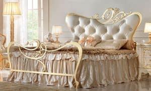 Maryrose Gold Bed, Doppelbett aus Metall, für Schlafzimmer