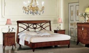 Narciso perforierte Bett, Nussbaum-Bett, mit Kopfteil perforiert, handgefertigt