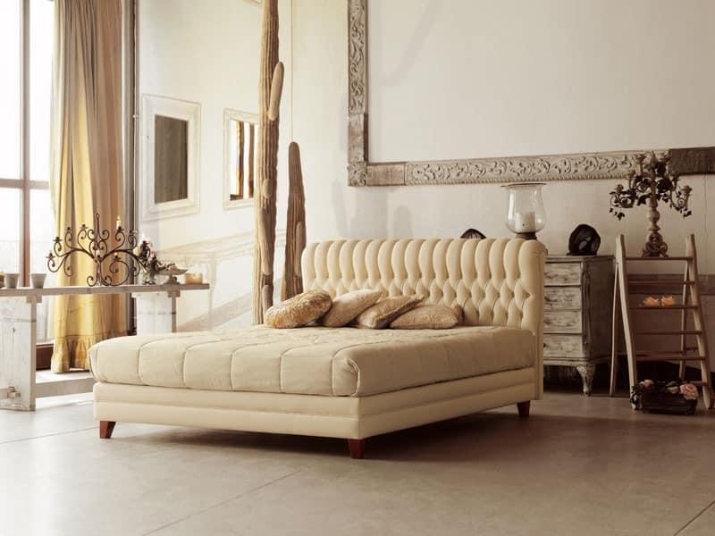 klassische holzbett mit kopfteil getuftete idfdesign. Black Bedroom Furniture Sets. Home Design Ideas