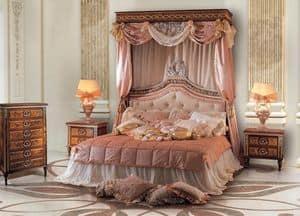 Paradise Bedroom, Doppelbett mit gepolstertem Kopfteil getuftete
