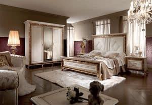 Raffaello Bett, Luxuriöses Bett mit gepolstertem Kopfteil aus Holz oder, mit glänzenden Perleffekt lackiert