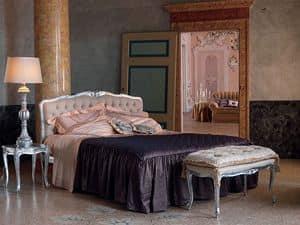 Renoir Bett, Bett im klassischen Stil, Silber-Finish, für Hotels