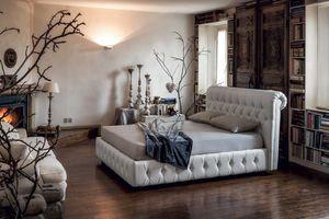 VENEZIA, Klassisches Bett mit gestepptem Kopfteil