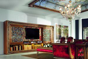 4093AB, Großes Bücherregal aus Holz mit TV-Ständer