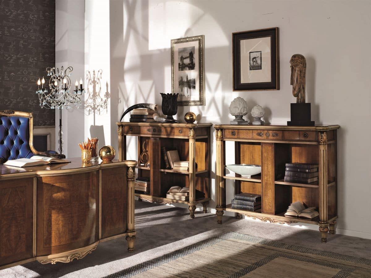 b cherschrank in nussbaum lackiert einzelheiten f r. Black Bedroom Furniture Sets. Home Design Ideas