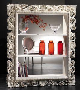 Art. 20708, Weißes Bücherregal mit geschnitzten Rahmen