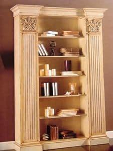 Art. 756, Lackiert Bücherregal, mit Kapitellen, für klassische Wohnzimmer