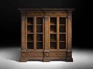 Art. C1 Bücherschrank, Bücherregal mit korinthischen Hauptstädten, venezianischen klassischen Stil