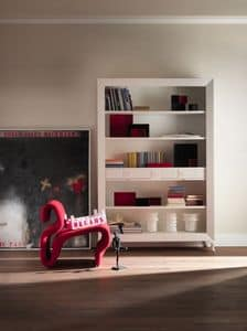 Art. CA413, Bücherregal im klassischen Stil, mit Schubladen, aus in Edelholz