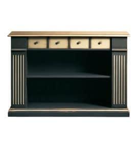 Camilla FA.0105, Bücherregal mit 4 Schubladen und 2 Fachböden, im klassischen Stil