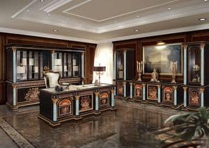 F950/E, Klassischer Bücherschrank für Büros , geschnitzte Bücherschrank für Büros geeignet