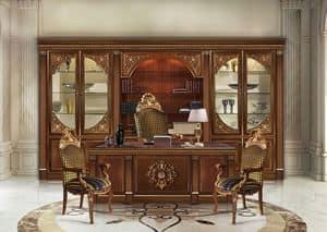 Hermitage, Bibliothek mit Details in Blattgold, aus Holz geschnitzt