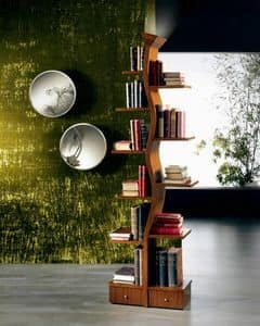 LB02 Giovane Albero, Holz Bibliothek mit einer Lampe, in der Form eines Baumes