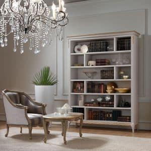 Live 5311 libreria, Bücherregal aus Holz, mit handgefertigten Goldende Dekorationen, ideal für Klassiker Wohnzimmer