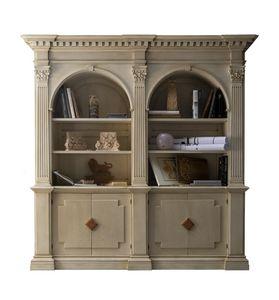 Montignoso ME.0129, Medici-Bibliothek mit 2 Türen mit Marmorplatten, korinthischen Kapitellen, kleine Zimmer versenkbare, in klassisch Stil