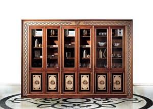 Paradise C/518, Klassischer Bücherschrank mit 6 Türen