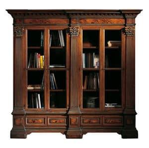 Sillano ME.0124, Bücherschrank in Nussbaum mit 4 Türen, briar Spiegel und korinthischen Kapitellen, Unterteil mit zwei Schubladen, für Umgebungen im klassischen Stil
