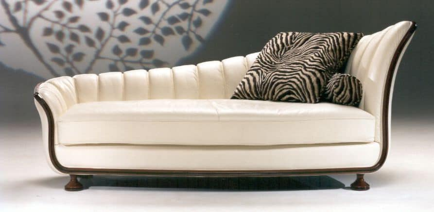 chaiselongue aus echtem leder mit holzstruktur idfdesign. Black Bedroom Furniture Sets. Home Design Ideas