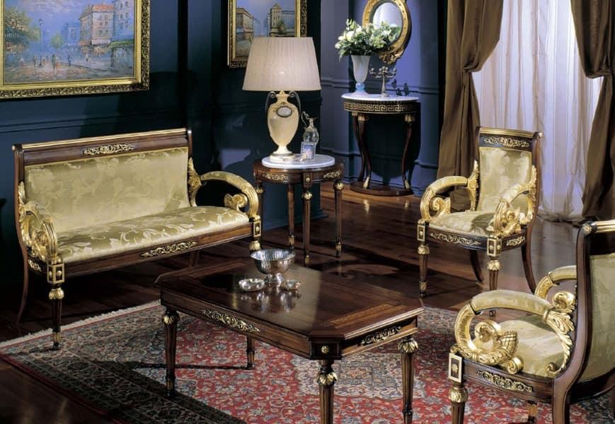 2715 COFFEE TABLE LUIGI XVI, Klassische Couchtisch, oben mit Einlegearbeiten aus Holz