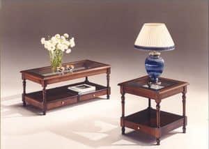 2980 COUCHTISCH, Holztische mit Glasplatte, klassischen Stil