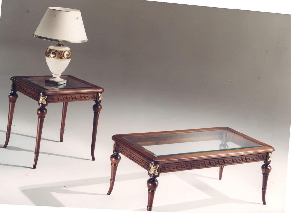 rechteckiger couchtisch aus eingelegtem holz glas gemacht idfdesign. Black Bedroom Furniture Sets. Home Design Ideas
