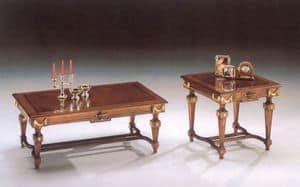 2820  COUCHTISCH, Couchtisch aus Holz mit klassischen Linien, Blattgold Fertig
