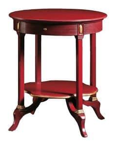 Adamo FA.0136, Runder Tisch mit 1 Schublade, für Villen und Hotels