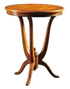 Adriano FA.0113, Decò Tisch mit runder Spitze in eingelegtem Holz