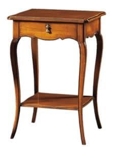 Anselmo FA.0141, Klassische Holztisch mit 2 Einlegeböden und 1 Schublade